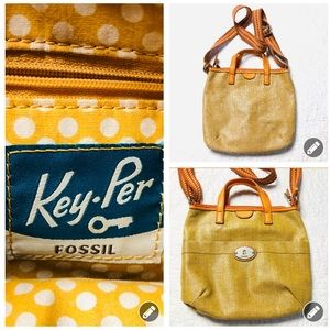Fossil Key Per coated burlap crossbody bag